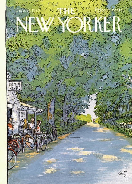 Bicycle Painting - New Yorker June 21st, 1976 by Arthur Getz