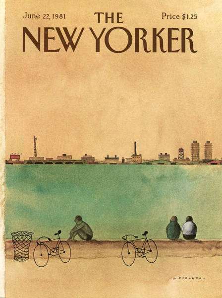 Bicycle Painting - New Yorker June 22nd, 1981 by Abel Quezada