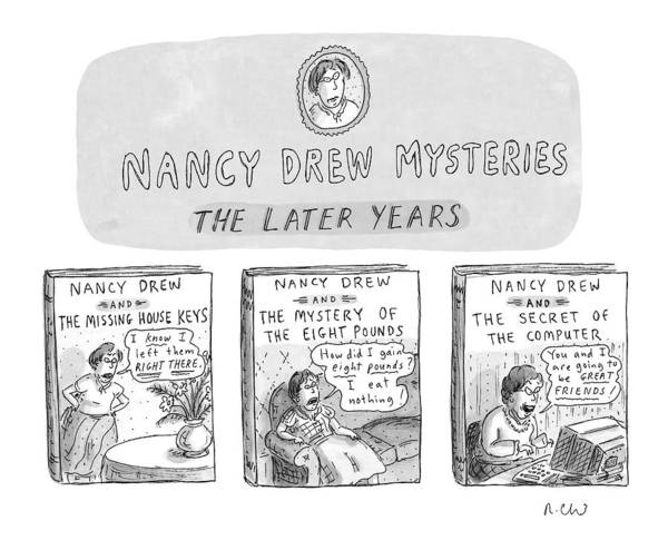 Hand Drawn Drawing - New Yorker June 22nd, 1998 by Roz Chast