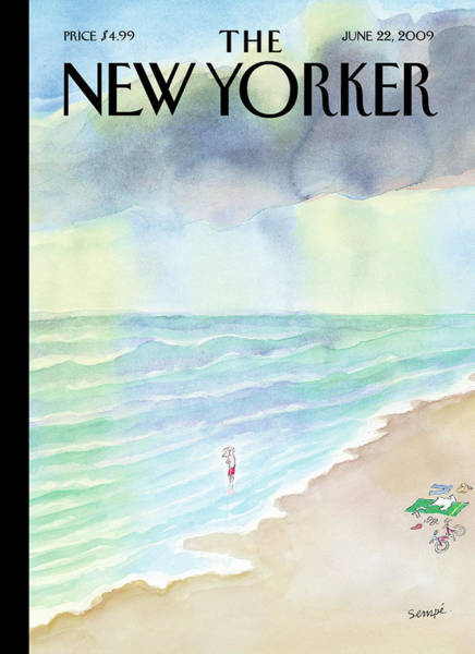 Beach Painting - New Yorker June 22nd, 2009 by Jean-Jacques Sempe