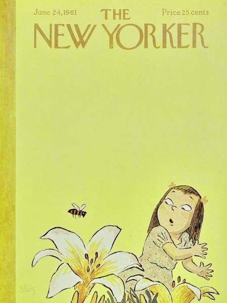 Yellow Background Painting - New Yorker June 24th 1961 by William Steig