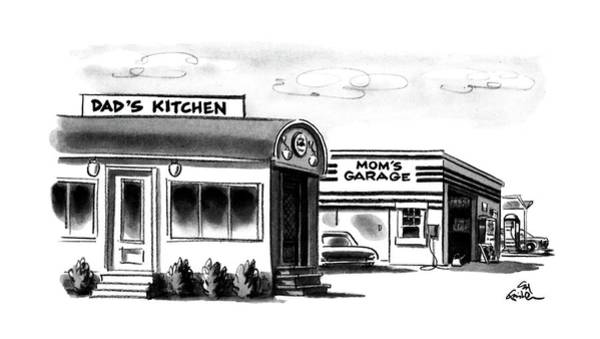 Gas Station Drawing - New Yorker June 24th, 1991 by Ed Fisher
