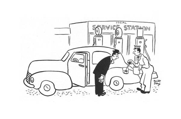 Gas Station Drawing - New Yorker June 27th, 1942 by Robert J. Day