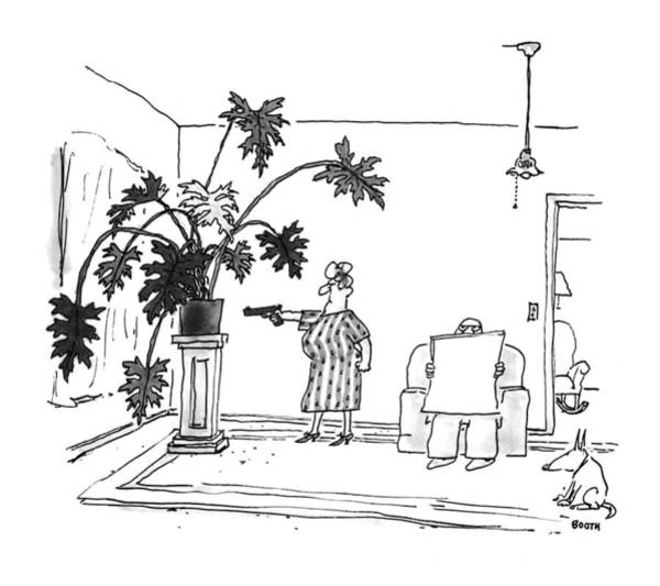 Plant Drawing - New Yorker June 29th, 1992 by George Booth