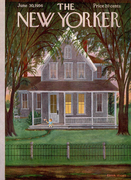 Suburban Painting - New Yorker June 30th, 1956 by Edna Eicke