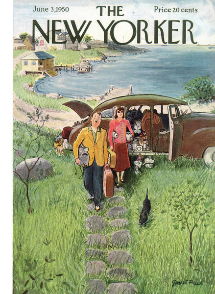 Summer Vacation Painting - New Yorker June 3rd, 1950 by Garrett Price