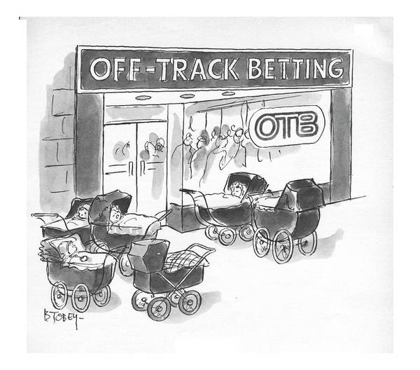 Horse Race Drawing - New Yorker June 3rd, 1972 by Barney Tobey