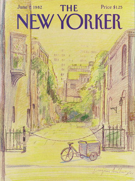 Bicycle Painting - New Yorker June 7th, 1982 by Eugene Mihaesco