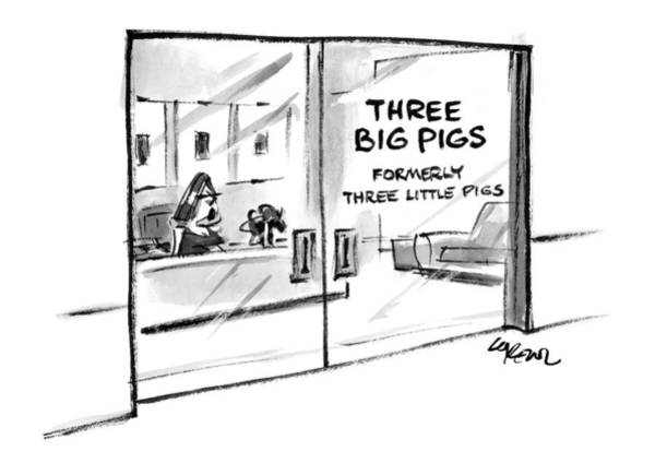 Pig Drawing - New Yorker June 7th, 1999 by Lee Lorenz