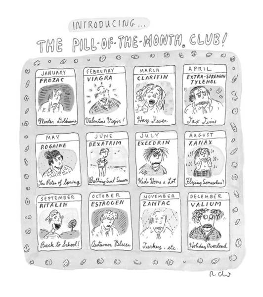 Medicine Drawing - New Yorker June 8th, 1998 by Roz Chast