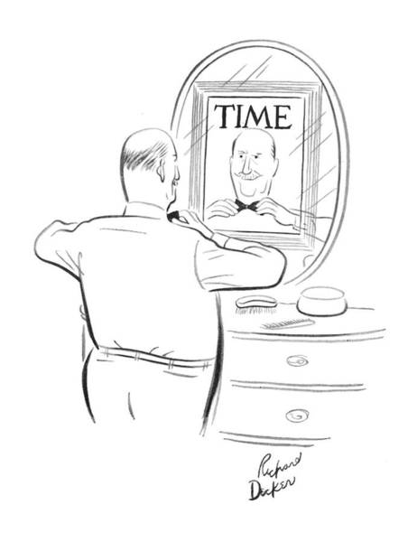 Reflection Drawing - New Yorker June 9th, 1962 by Richard Decker