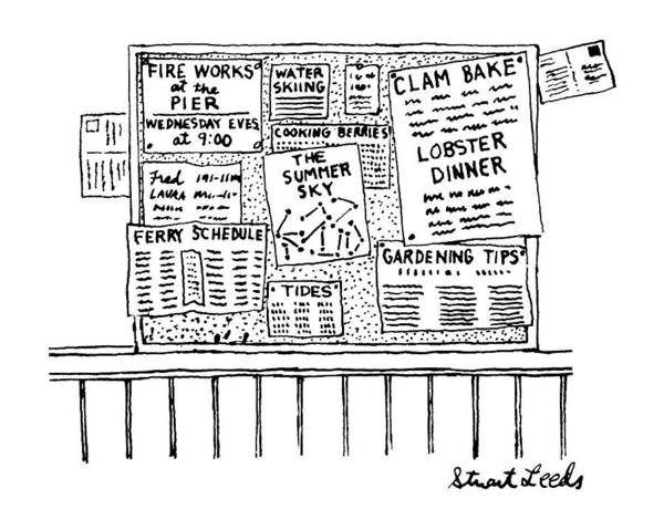 Pier Drawing - New Yorker June 9th, 1986 by Stuart Leeds
