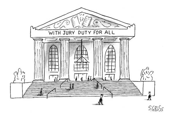 Justice Drawing - New Yorker June 9th, 1997 by Sam Gross