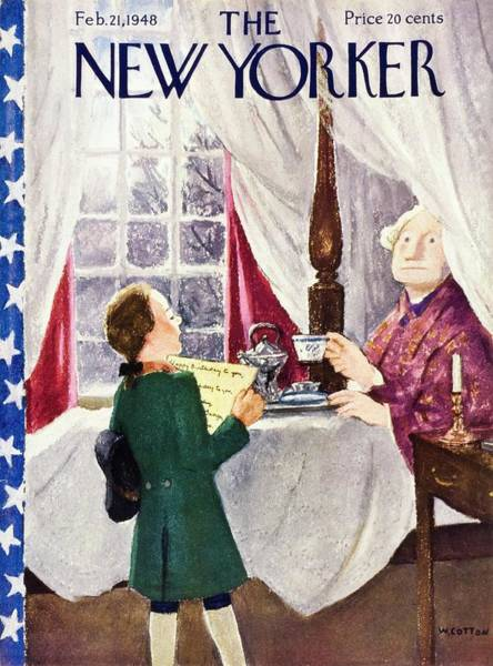 Washington Painting - New Yorker Magazine Cover Of A Boy Singing Happy by William Cotton
