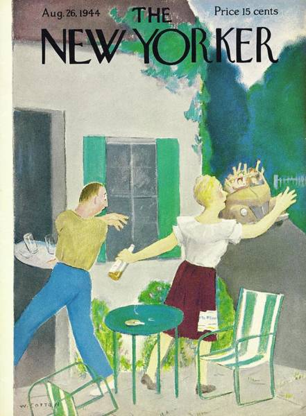 Humor Painting - New Yorker Magazine Cover Of A Couple Hiding by William Cotton