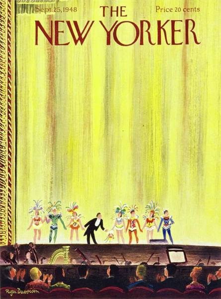 Nobody Painting - New Yorker Magazine Cover Of A Curtain Call by Roger Duvoisin