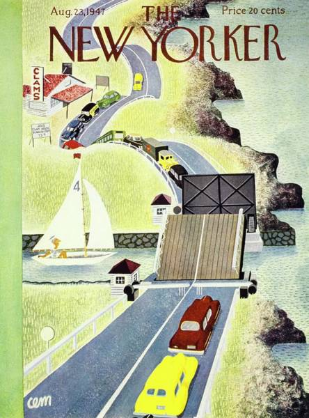 River Painting - New Yorker Magazine Cover Of A Drawbridge by Charles Martin