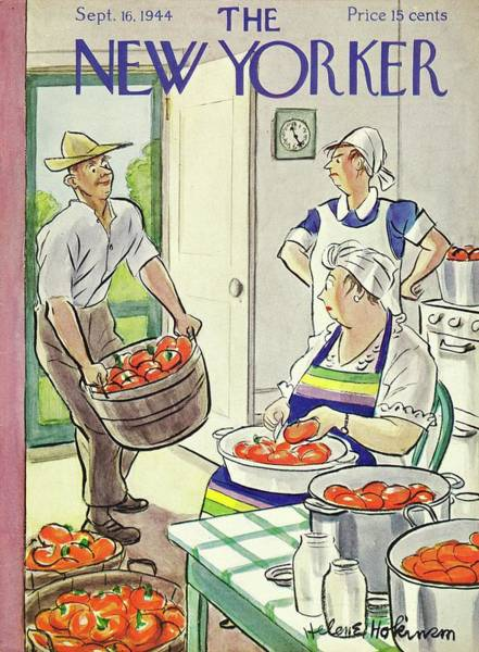 Vegetables Painting - New Yorker Magazine Cover Of A Farmer Delivering by Helene E. Hokinson