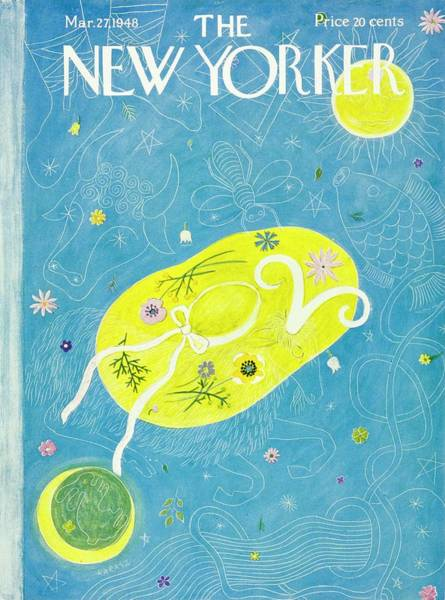 Moon Painting - New Yorker Magazine Cover Of A Floral Hat by Ilonka Karasz