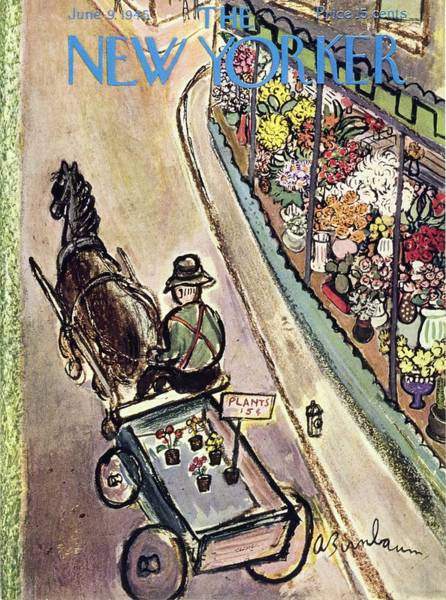 Man Painting - New Yorker Magazine Cover Of A Flower Vendor by Aaron Birnbaum