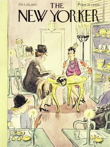 Restaurant Painting - New Yorker Magazine Cover Of A Fortune Teller by Helene E. Hokinson