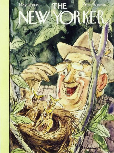 Headgear Painting - New Yorker Magazine Cover Of A Man Discovering by Perry Barlow