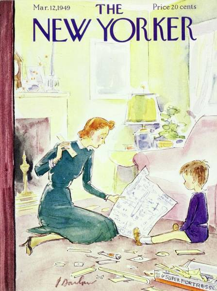 New Yorker Magazine Cover Of A Mother And Son Art Print by Perry Barlow