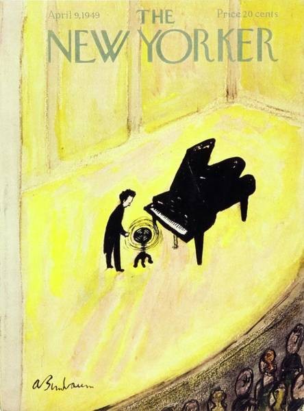 Nobody Painting - New Yorker Magazine Cover Of A Pianist On Stage by Aaron Birnbaum