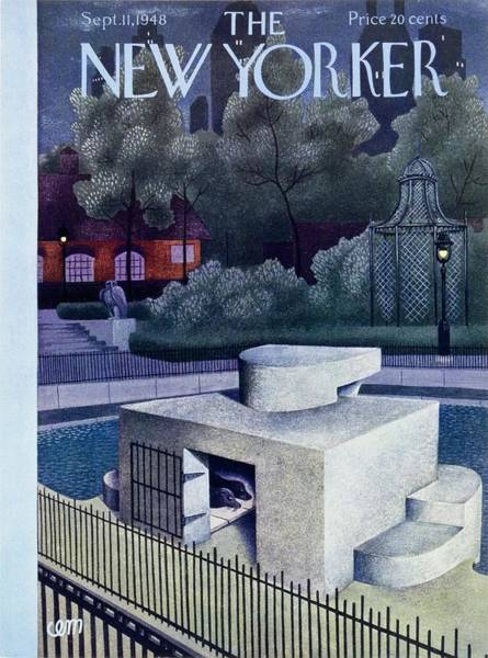 Night Painting - New Yorker Magazine Cover Of A Seal Enclosure by Charles Martin