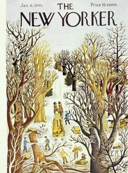 Sleigh Painting - New Yorker Magazine Cover Of A Sleigh And Bare by Ilonka Karasz