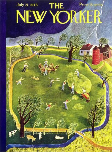 Countryside Painting - New Yorker Magazine Cover Of A Storm Approaching by Ilonka Karasz