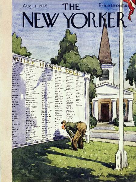 Reading Painting - New Yorker Magazine Cover Of A Veteran Checking by Alan Dunn