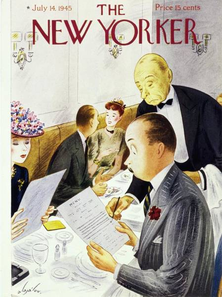 Restaurant Painting - New Yorker Magazine Cover Of A Waiter Crossing by Constantin Alajalov