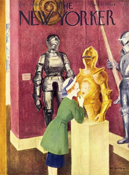 History Painting - New Yorker Magazine Cover Of A Woman Applying by William Cotton