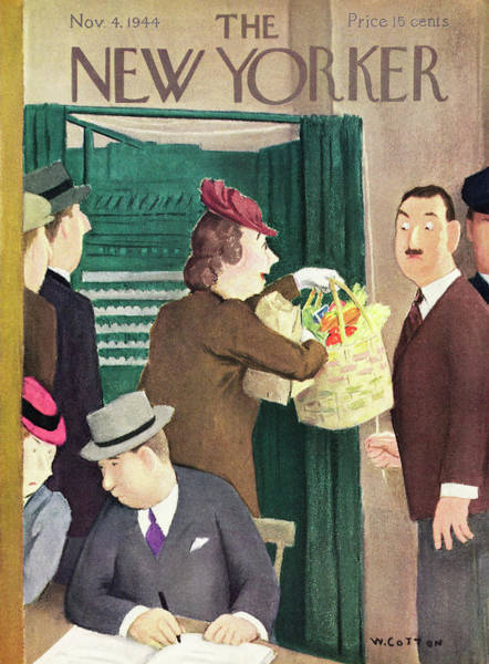 Election Painting - New Yorker Magazine Cover Of A Woman At A Voting by William Cotton