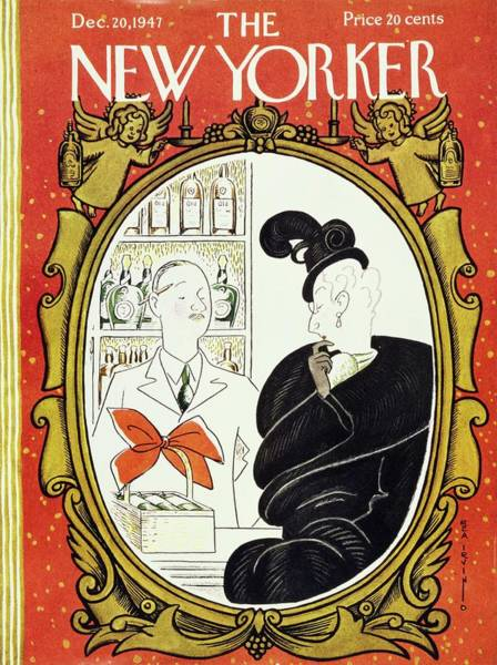 Formal Wear Painting - New Yorker Magazine Cover Of A Woman Shopping by Rea Irvin