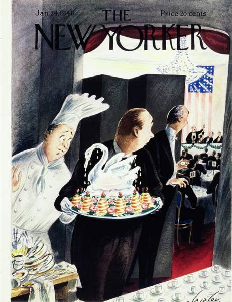 Restaurant Painting - New Yorker Magazine Cover Of An Ice Sculpture by Constantin Alajalov