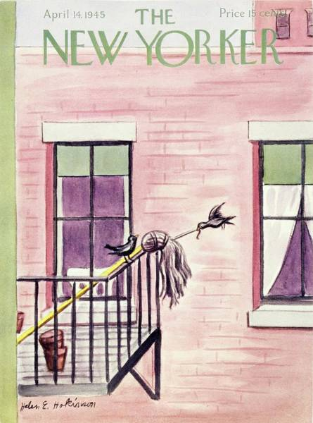 Fire Escape Painting - New Yorker Magazine Cover Of Birds On A Mop by Helene E. Hokinson