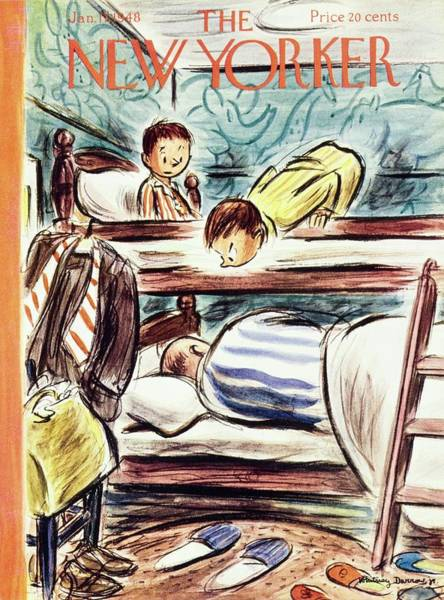 Furniture Painting - New Yorker Magazine Cover Of Boys Watching by Whitney Darrow