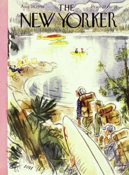 Nobody Painting - New Yorker Magazine Cover Of Campers by Leonard Dove