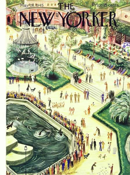 Nobody Painting - New Yorker Magazine Cover Of Central Park Zoo by Constantin Alajalov