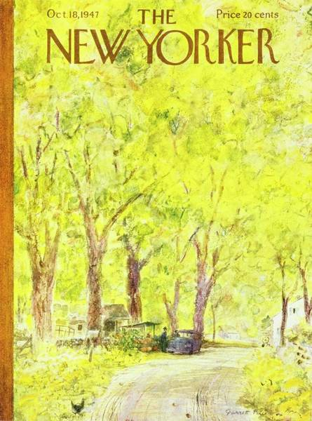 Countryside Painting - New Yorker Magazine Cover Of Country Road by Garrett Price