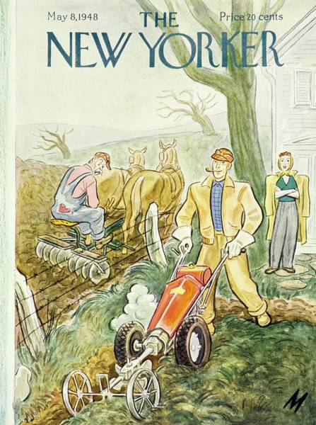 Wall Art - Painting - New Yorker Magazine Cover Of Farmers Using by Julian De Miskey