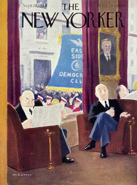 Street Furniture Painting - New Yorker Magazine Cover Of Men In A Club by William Cotton