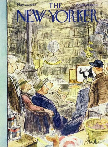 Television Painting - New Yorker Magazine Cover Of Men Watching by Perry Barlow