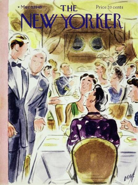 Restaurant Painting - New Yorker Magazine Cover Of People by Leonard Dove