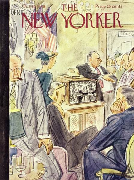 Television Painting - New Yorker Magazine Cover Of Political Campaign by Perry Barlow