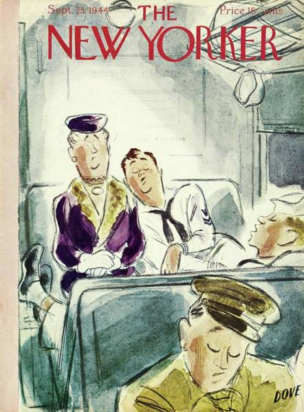 Wall Art - Painting - New Yorker Magazine Cover Of Servicemen Sleeping by Leonard Dove