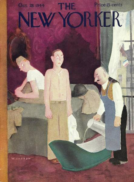 New Yorker Magazine Cover Of Soldiers In A Hotel Art Print