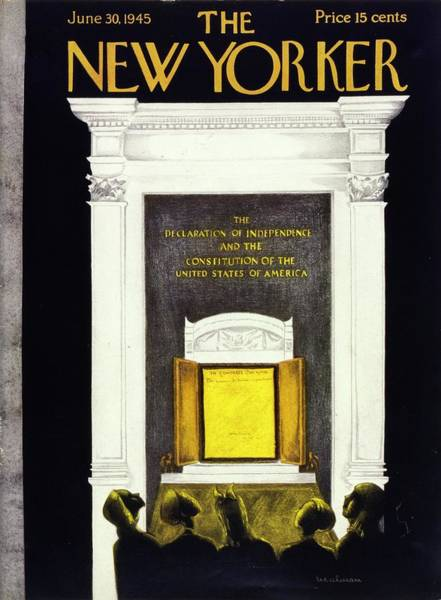 Men Painting - New Yorker Magazine Cover Of The Declaration by Christina Malman